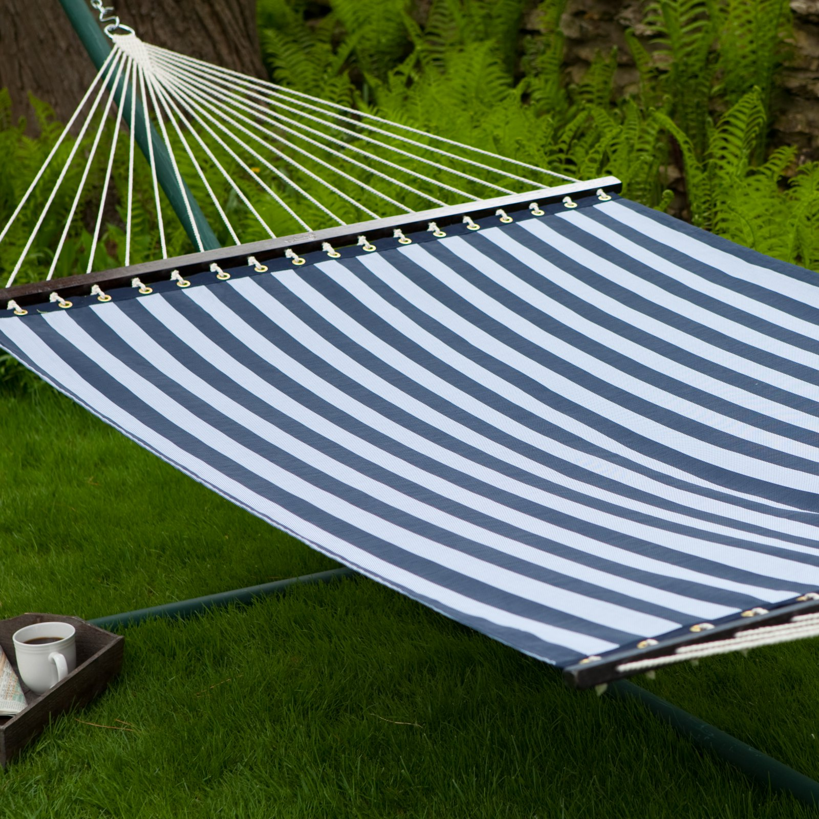 Coral Coast 13 ft. Quick Dry Poolside Navy Stripes Hammock
