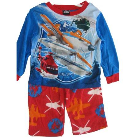 Little Boys Red Blue Fire Dept. Cartoon 2 Pc Pajama Set - Boutique Pajamas