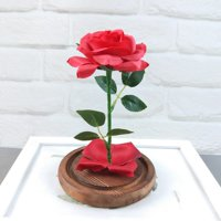 Outtop Romantic Immortal Flower Micro Landscape Rose Simulation Glass Shade Led Llight
