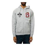 Black Scale Mens The Saint Varsity Zip Up Hoodie Sweatshirt, grey, Large