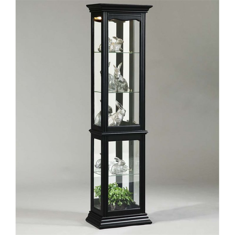 Pulaski Mirrored Back Curio Cabinet in Black by Pulaski
