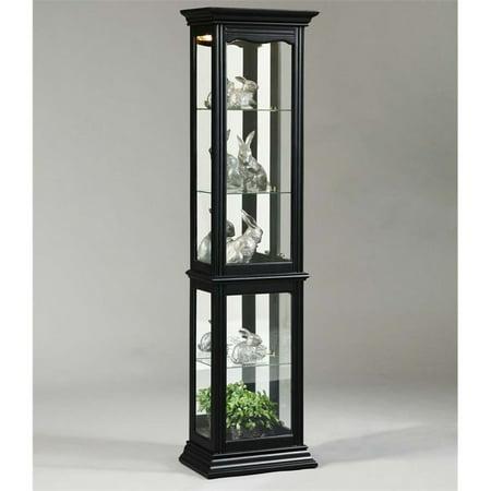 Pulaski Mirrored Back Curio Cabinet in Black (Pulaski Curio Display Cabinet In Black Granite)