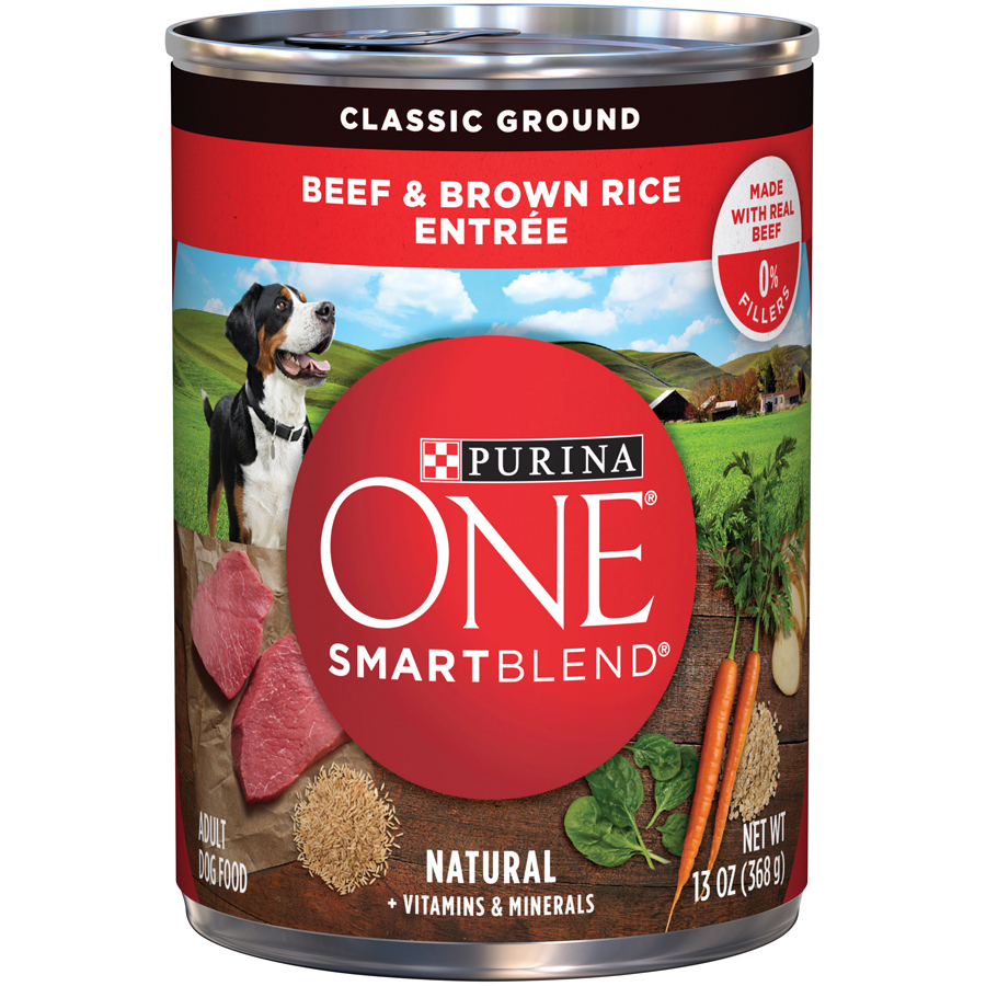 Purina ONE SmartBlend Classic Ground Beef & Brown Rice Entree Adult Wet Dog Food, 13 Oz.