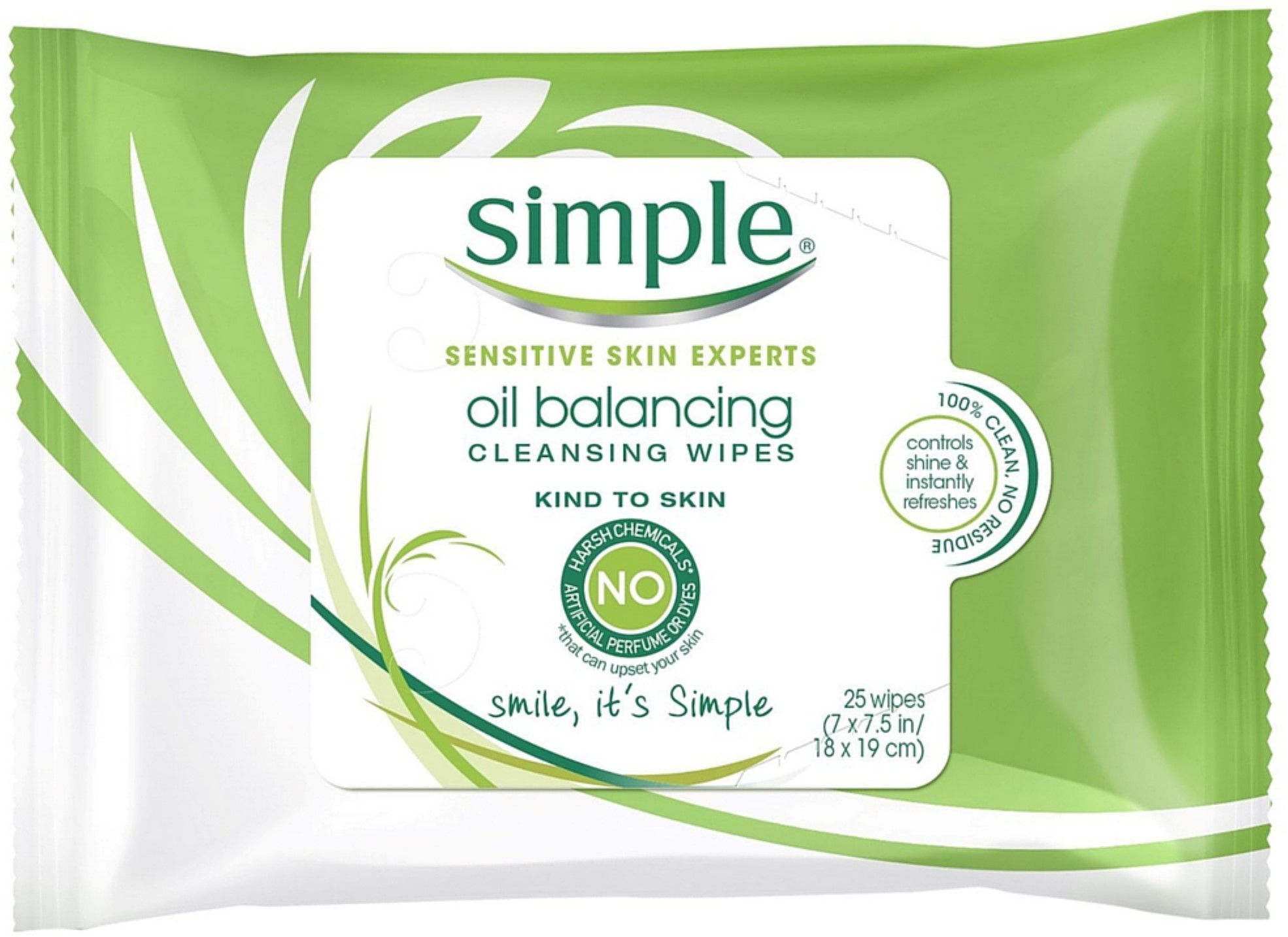 4 Pack - Simple Sensitive Skin Experts Oil Balancing Cleansing Wipes 25 ea N.M.F Aquaring Mask, This Beauty Product Is 100% Original By Mediheal