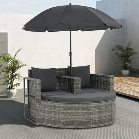 vidaXL 2 Seater Garden Sofa with Cushions and Parasol Gray Poly Rattan