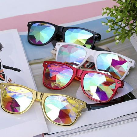 C.F.GOGGLE Fashion Steampunk Goggles Kaleidoscope Glasses Round Rave Festival Diffraction Sunglasses for Women Red  Black White - Round White Sunglasses