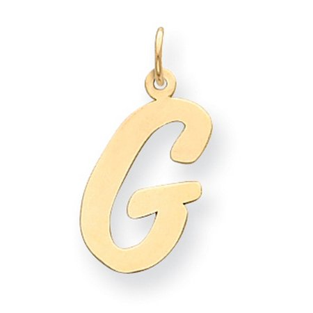 14k Yellow Gold Polished Flat Script Upper Case Letter G Initial Charm 22x12-17mm