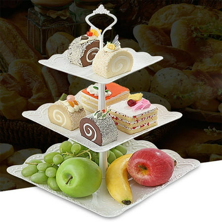 3 Tier Cake Stand Square Fruit Plate - Plastic Mini Cupcake Stand and Towers Tiered Display White Serving Platter Bases for Desserts Candy Station Donut Tower Wedding Buffet Birthday