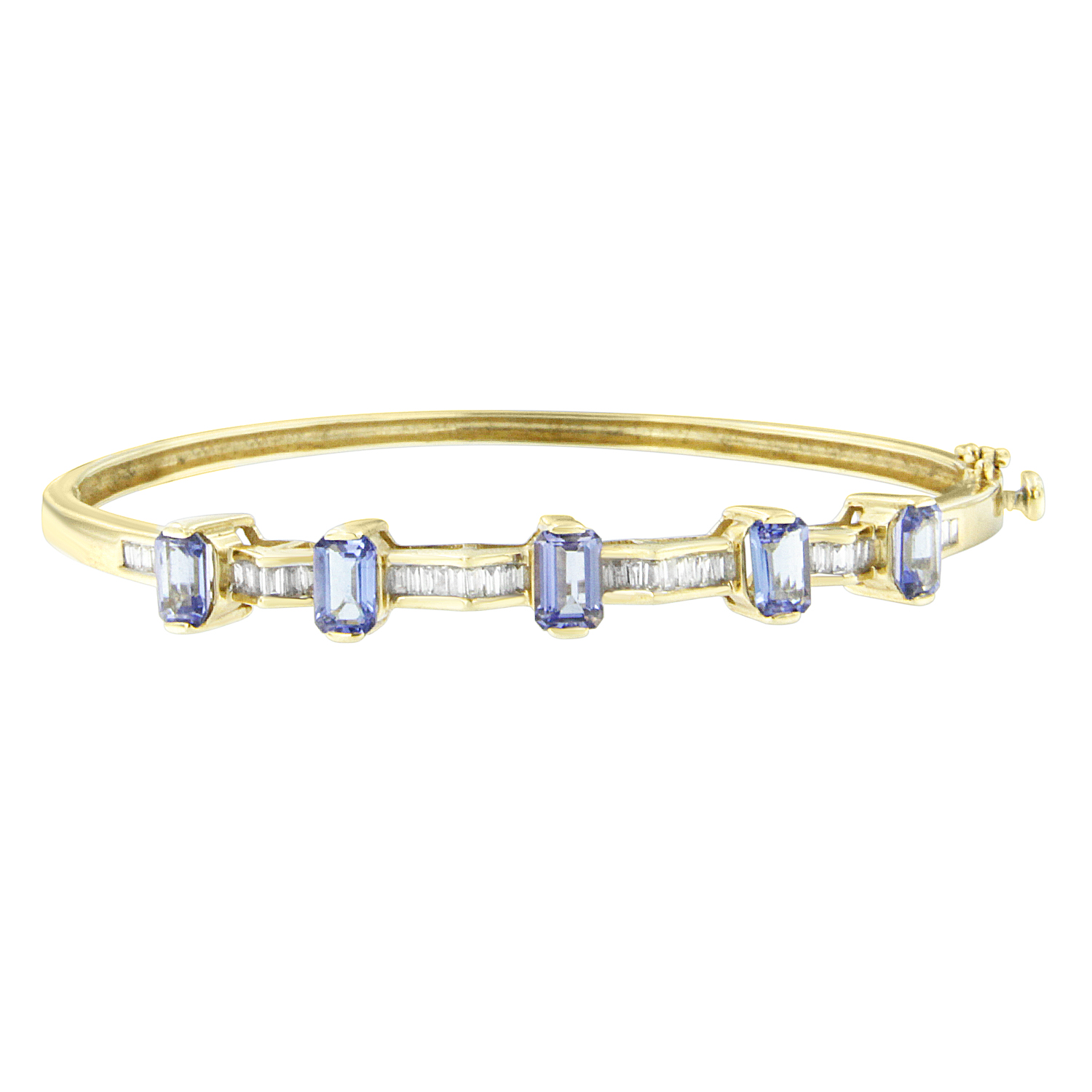 14KT Yellow Gold 4ct TDW Round-Cut Diamond and Tanzanite Bracelet (H-I,SI2-I1) by VJG