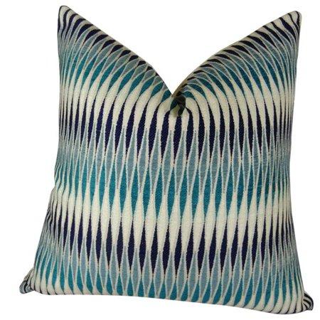"Plutus Thames River Cobalt HandmadeThrow Pillow, (Double sided 20"" x 36"" King) - image 1 de 1"
