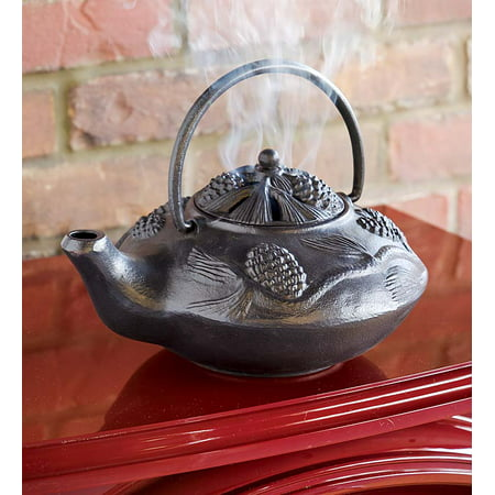 Cast Iron Pine Cone Design Wood Stove Steamer Kettle / Humidifier, Black ()