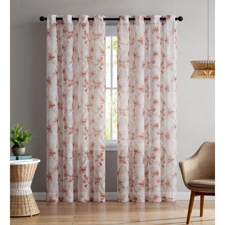 - Set of Two (2) Sheer Window Curtain Panels: Grommets, Coral and Light Mauve Floral Design 96