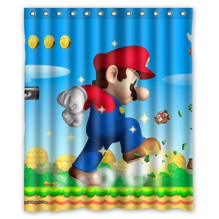 DEYOU Super Mario Bros Shower Curtain Polyester Fabric Bathroom Size 60x72 Inches