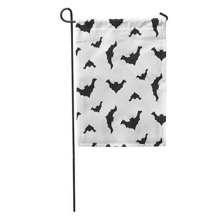 KDAGR Cartoon Halloween Flying Black Bats Silhouettes and Celebration Dark Garden Flag Decorative Flag House Banner 12x18 inch - Halloween Bat Silhouette