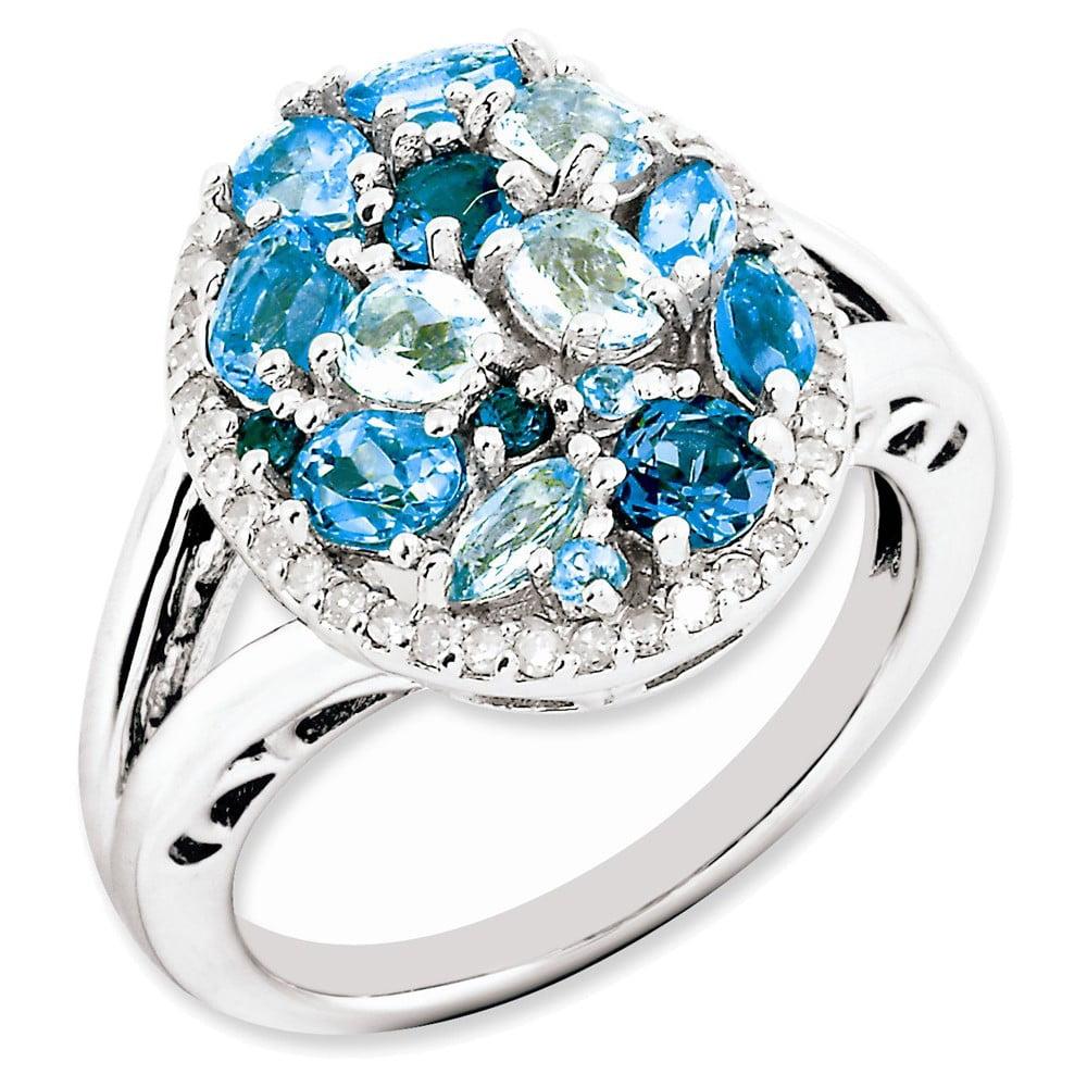 Sterling Silver Light Swiss Blue Topaz & Diamond Ring Size 10