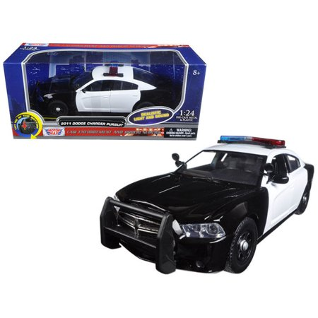 MOTOR MAX 1:24 W/B - 2011 DODGE CHARGER PURSUIT WITH LIGHTS AND SOUNDS BLACK WHITE DIECAST TOY CAR 79533