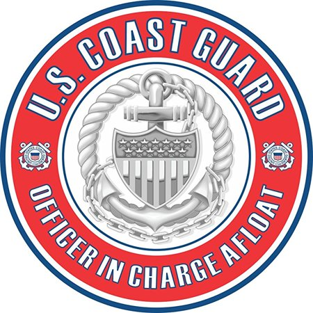 US Coast Guard Officer in Charge Afloat Badge 5.5 Inch Decal Coast Guard Officer Rank