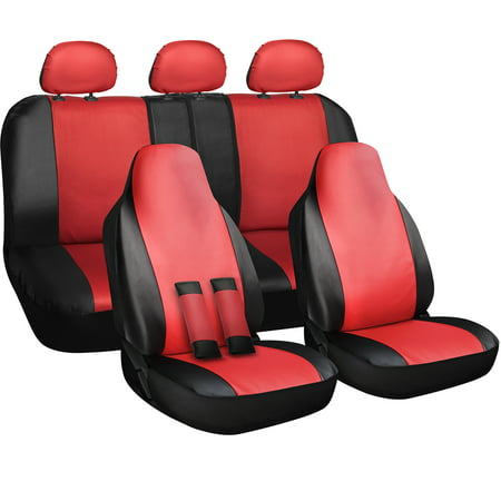 Oxgord Complete Set Universal Fit Pu Leather Car Seat Covers Red