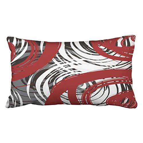 WinHome Red And Black White Gray Spiral Design Pattern Retro Abstract Elegant Multicolor Polyester 20 x 30 Inch Rectangle Throw Pillow Covers With Hidden Zipper Sofa Cushion Decorative Pillowcases