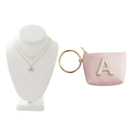 Time and Tru Gold Tone Genuine Mother of Pearl A Initial Necklace with Faux Leather A Initial Bangle Pouch