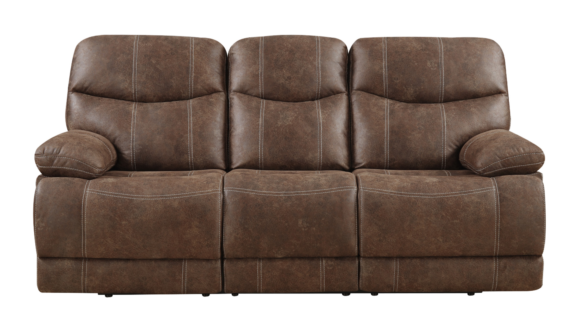 Pleasant Emerald Home Earl Brown Reclining Sofa With Faux Leather Upholstery Dual Reclining Seats And Pillow Arms Andrewgaddart Wooden Chair Designs For Living Room Andrewgaddartcom
