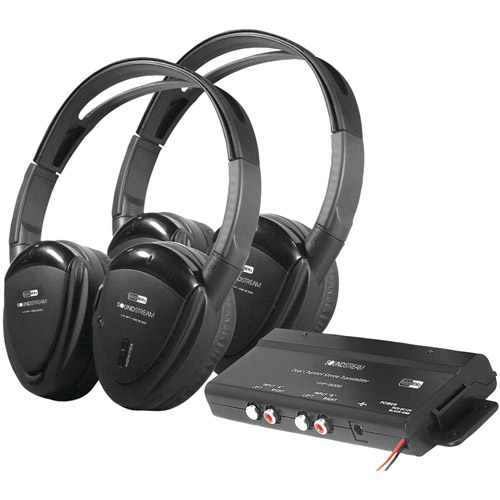Power Acoustik HP-902RFT 2 Swivel Ear Pad, 2-Channel RF 900MHz Wireless Headphones with Transmitter