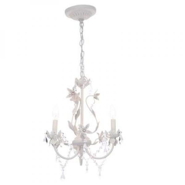 Cordelia Lighting Hampton Bay Kristin 3-Light Antique White Hanging Mini Chandelier