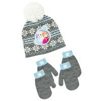 Disney Frozen Infant Toddler Girl's Frozen Hat and 2 Pair Mitten Set