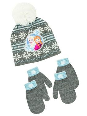 Infant Toddler Girl's Frozen Hat and 2 Pair Mitten Set