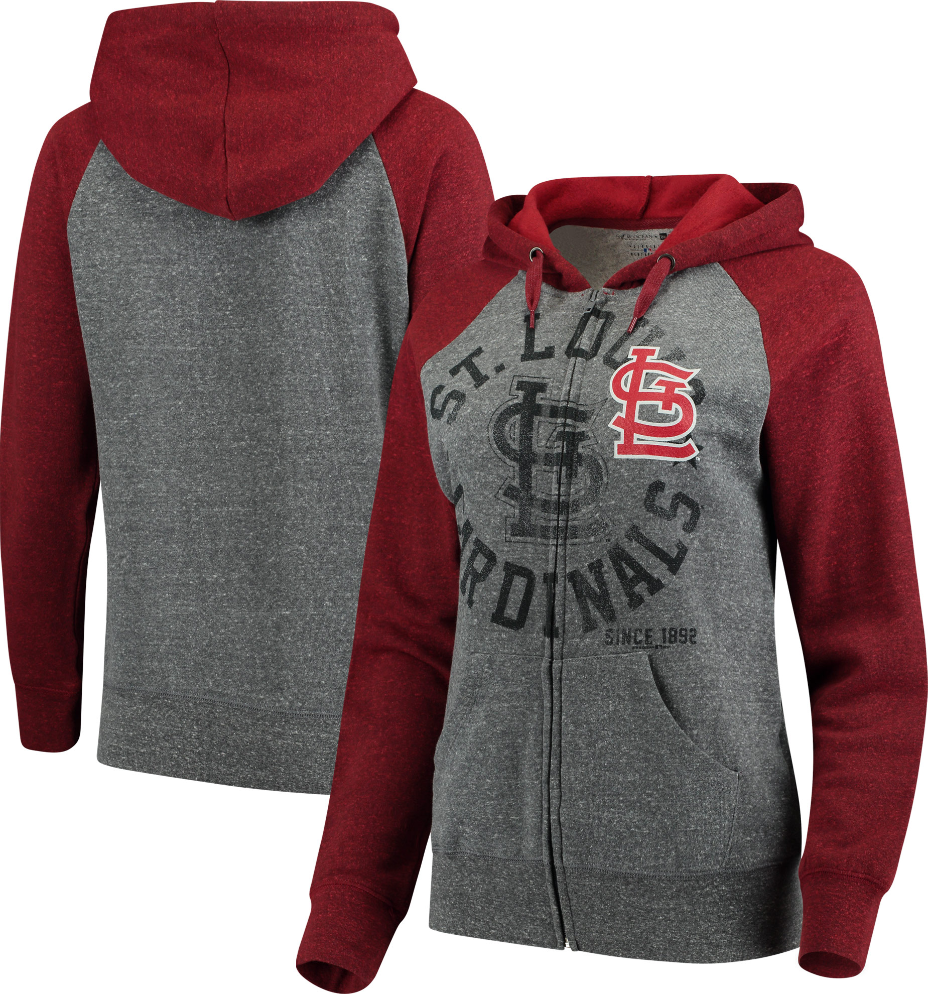 St. Louis Cardinals 5th & Ocean by New Era Women's Tri-Blend Raglan Fleece Full-Zip Hoodie - Heathered Gray/Red