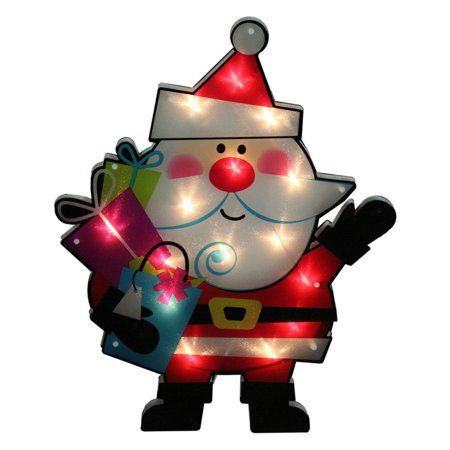 Pool City Christmas Decorations (Impact Lighted Shimmering Santa Claus with Gifts Christmas Window Silhouette)