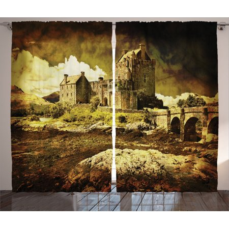 Medieval Decor Curtains 2 Panels Set, Old Scottish Castle In Vintage Style European Middle Age Culture Heritage Town Photo, Living Room Bedroom Accessories, By Ambesonne