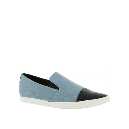 Croc Leather (All Black Womens Croc Toe Leather Low Top Slip On Fashion, Denim, Size 7.5)