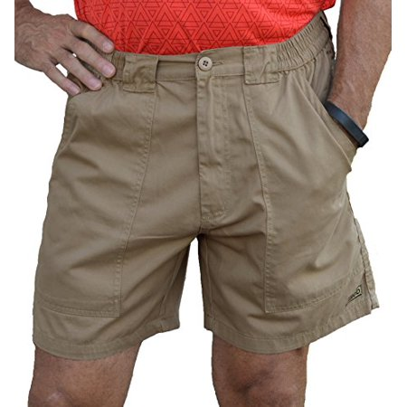Mens 22 Inch Shorts Charcoal - TROD Deep Pockets Short with 6 inch inseam, Khaki 32