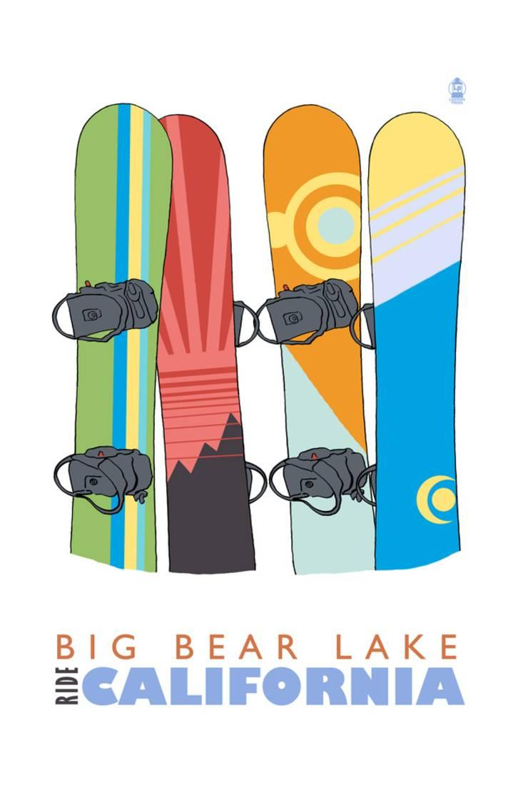 Big Bear Lake California Snowboards in Snow Print By Lantern Press by Art.com