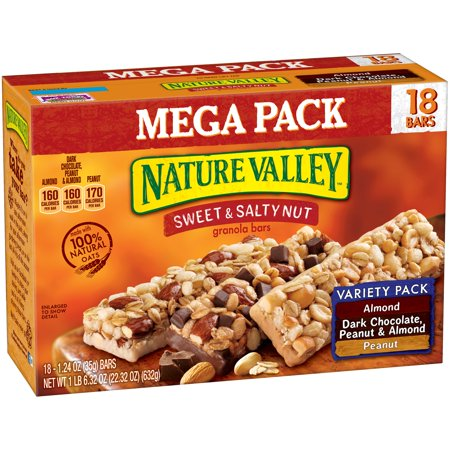 Nature Valley Sweet & Salty Nut Almond, Peanut & Dark Chocolate, Peanut & Almond Variety Pack Granola Bars 18-1.24 oz. Bars