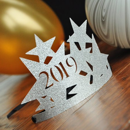 New Years Eve Hats 2019 in Silver. New Years Eve Favors. 1 Crown.