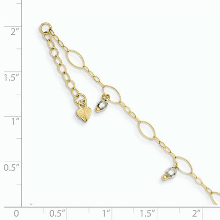 14k Yellow and White Gold Two-Tone Mirror Beaded Anklet Length 9 Inch - image 1 de 2