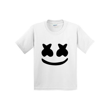 New Way 935 - Youth T-Shirt Marshmello DJ Smiley Face Medium White