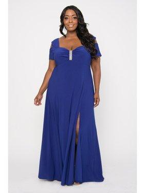 R&M Richards Long Plus Size Formal Stretchy Evening Dress