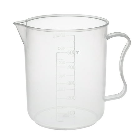 Laboratory Clear White PP 500mL Measuring Cup Handled Beaker