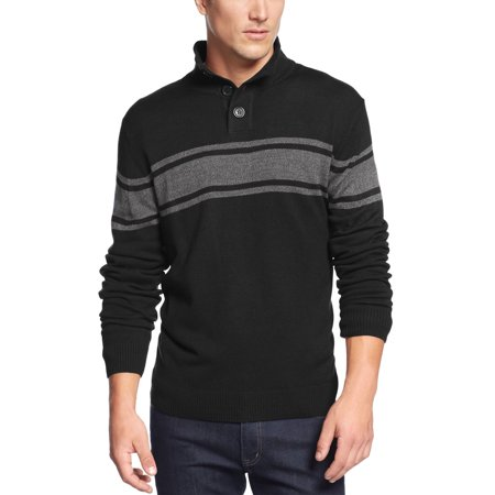 Chest Striped Mock Neck Sweater Black and Grey