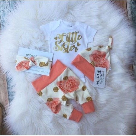 Flower Girl Clothes (4Pcs Newborn Baby Girls Flower Romper Long Pants Legging Hat Outfits Set)