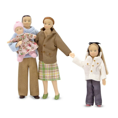 Melissa & Doug 4-Piece Victorian Vinyl Poseable Doll Family for Dollhouse - 1:12 Scale