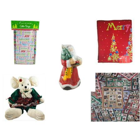Christmas Fun Gift Bundle [5 Piece] - 2-Pk  Sayings Cello Bags 20 Count - Merry  Door Mat  17.5