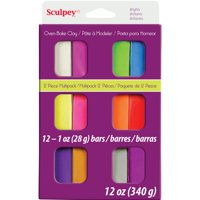 Sculpey Assorted Bright Oven-Bake Clay, 1 ounce each, 12 Pieces