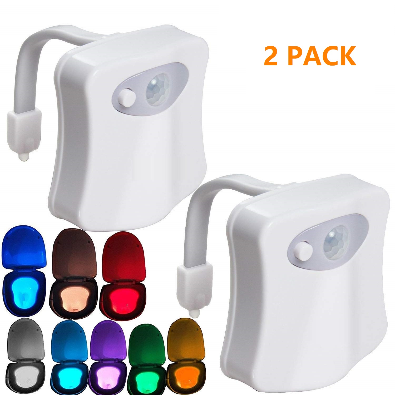 2PACK Toilet Night Light Motion Activated 8 Color Changing Led Toilet Seat Light Motion Sensor Toilet Bowl Light, I2431