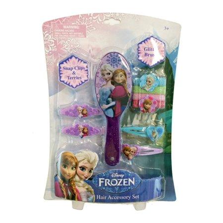 Disney Frozen Hair Accessories with Glitter Brush, Glitter Terries & Barrettes](Girls Glitter)