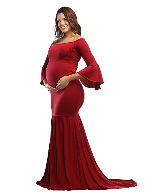 DYMADE Women's Off the Shoulder Bell Sleeve Mermaid Gown Maxi Maternity Photography Dress