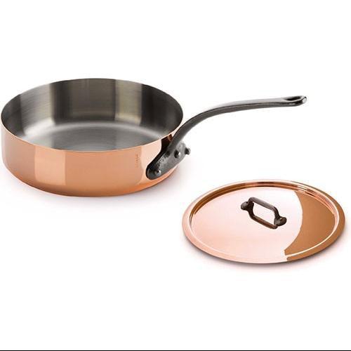 Mauviel 3.2 Qt Copper Saute Pan w/lid Cast Iron Handle 6411.25